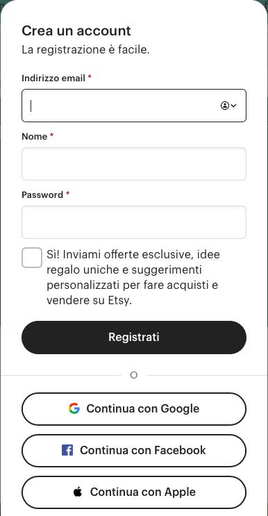 Registrazione Etsy