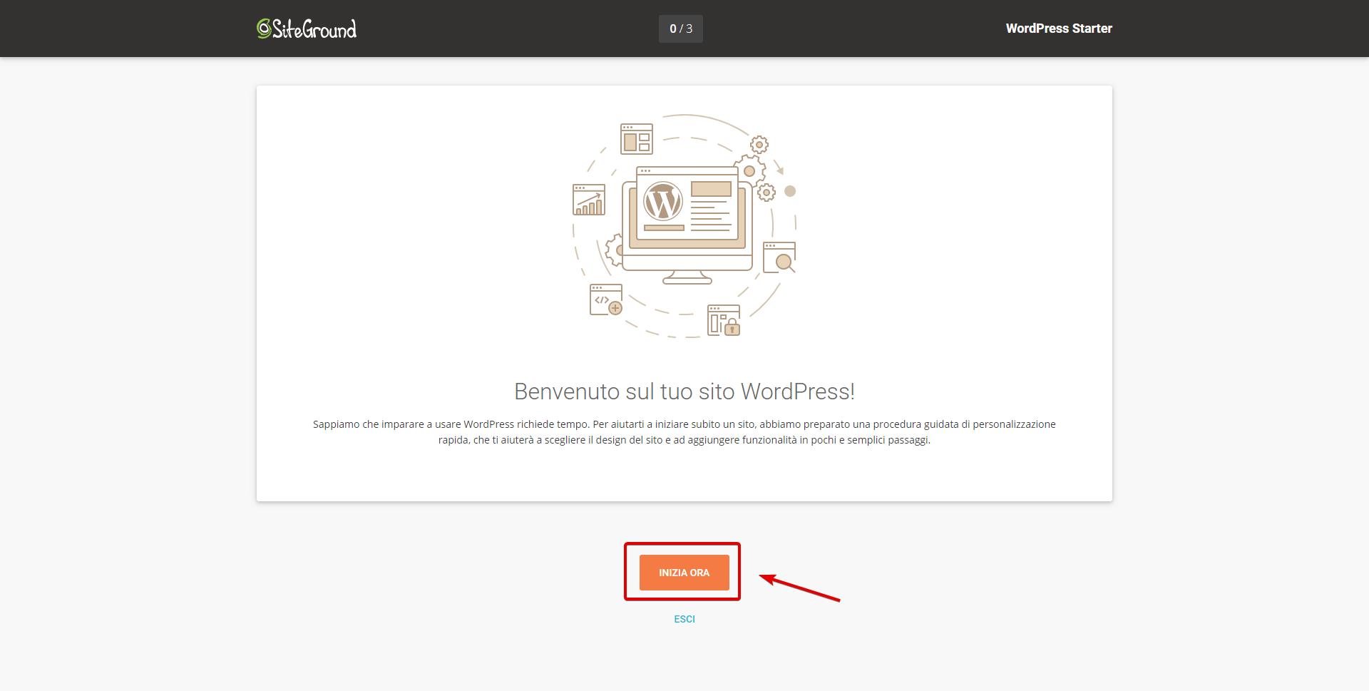 Impostare sito con wordpress starter su Siteground