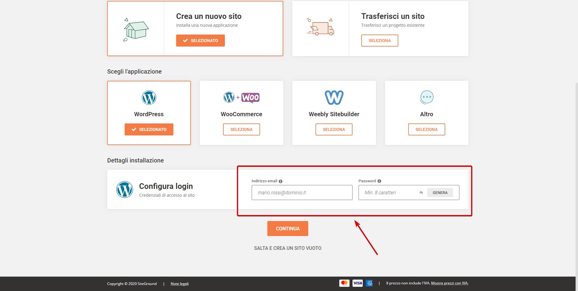 Configura Login WordPress su Siteground