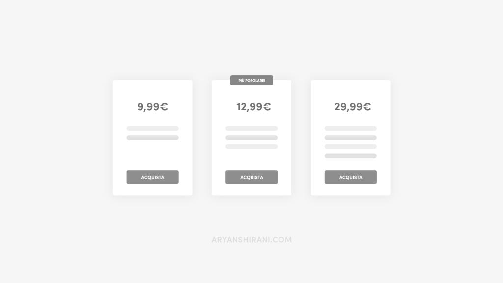 Pricing table Aryanshirani.com
