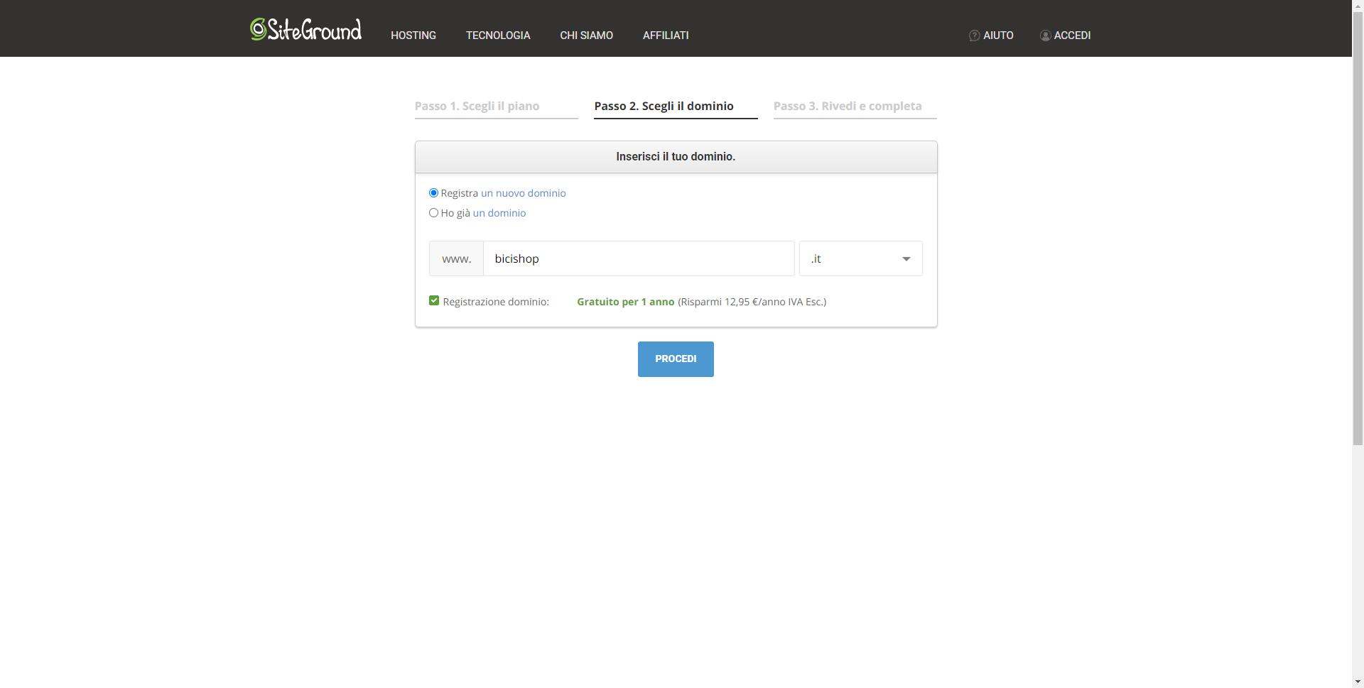 Acquistare dominio su siteground