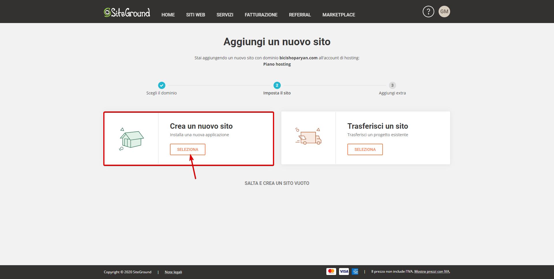 Crea un sito con dominio su Siteground