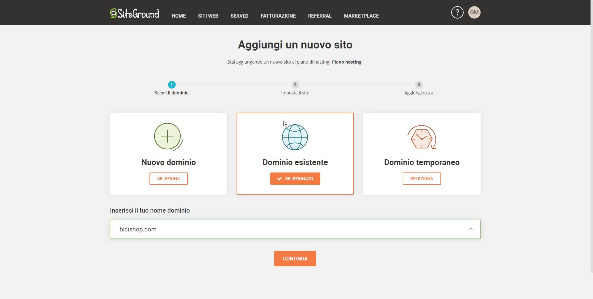 Aggiungere dominio al server di Siteground