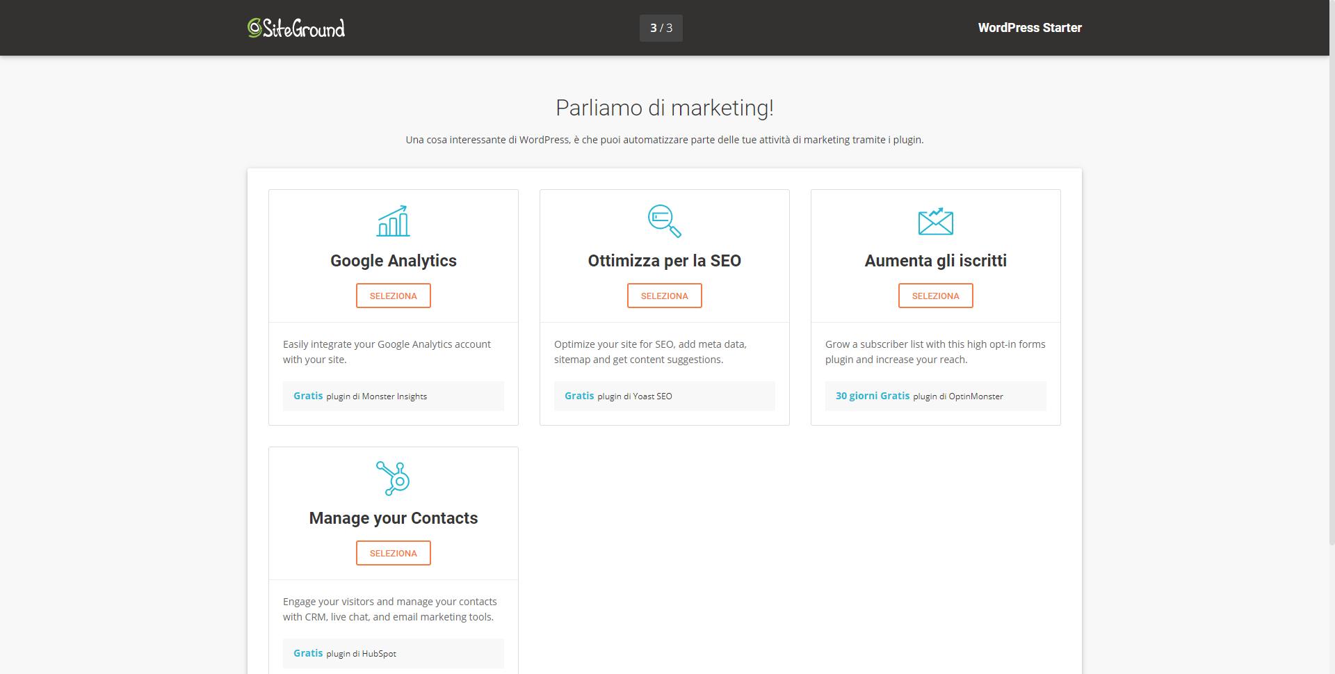 Plugin per il marketing wordpress starter