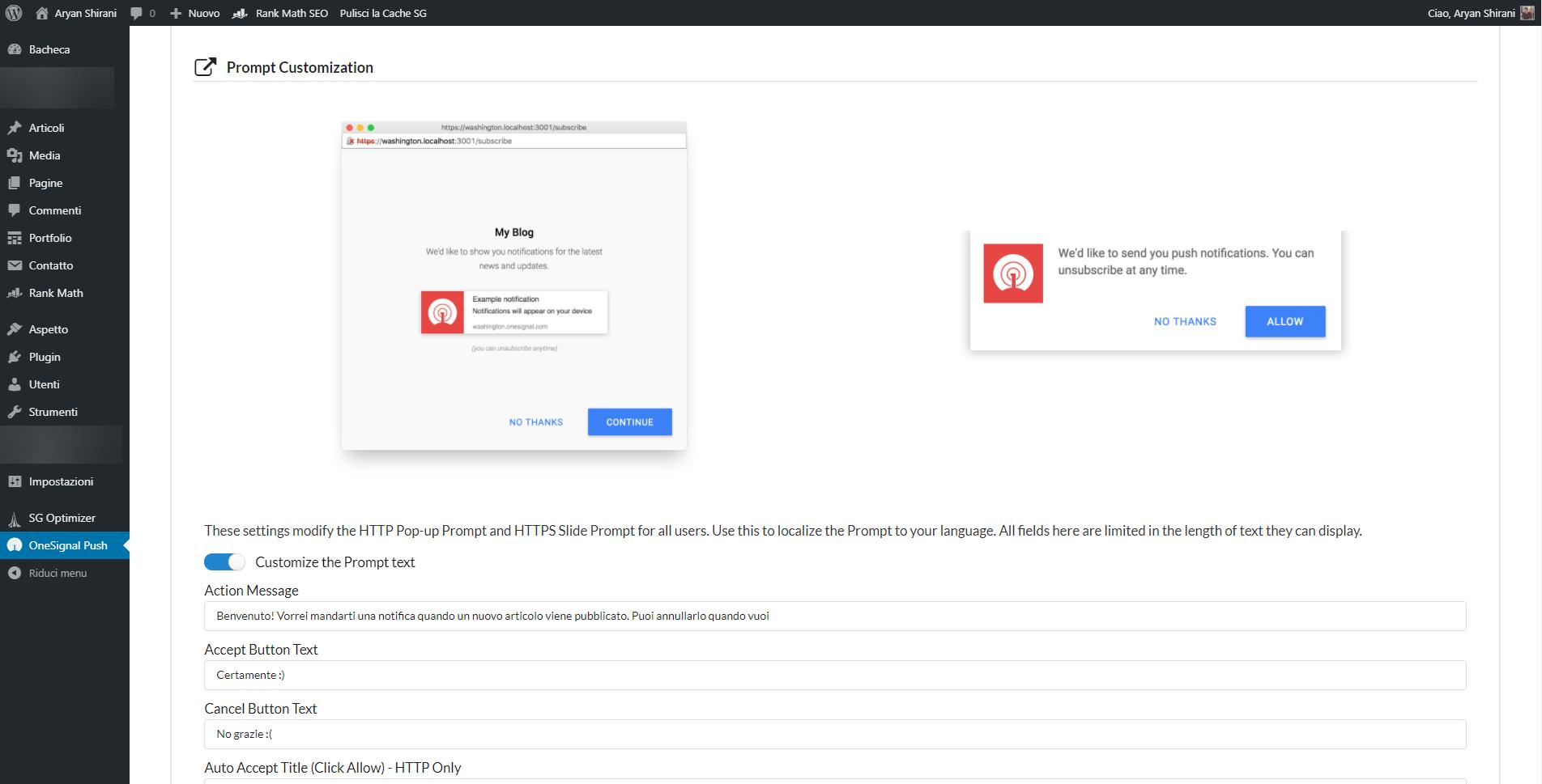 Messaggi personalizzati nel pop up di notifica push OneSignal per WordPress