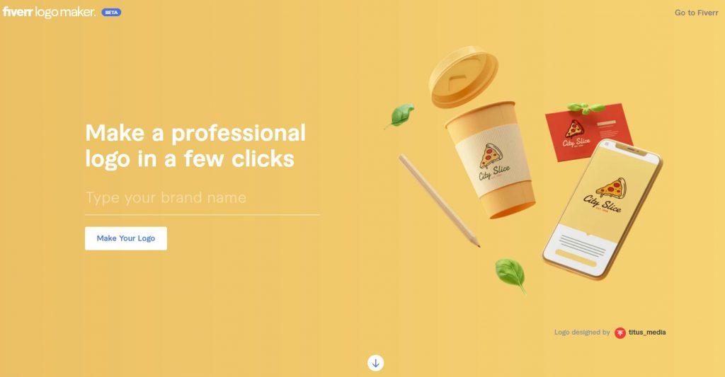 Fiverr logo maker home page