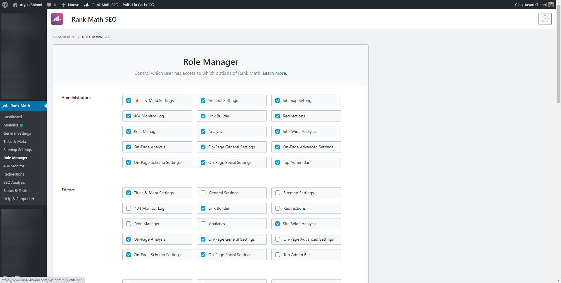 Rank math role manager impostazione ruoli