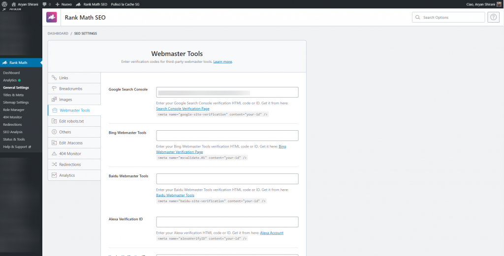 Rank math Webmaster Tool