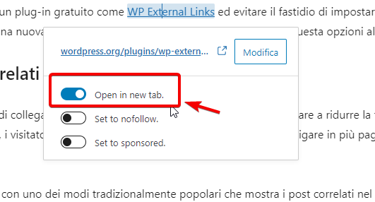 Aprire i link esterni in nuove schede browser
